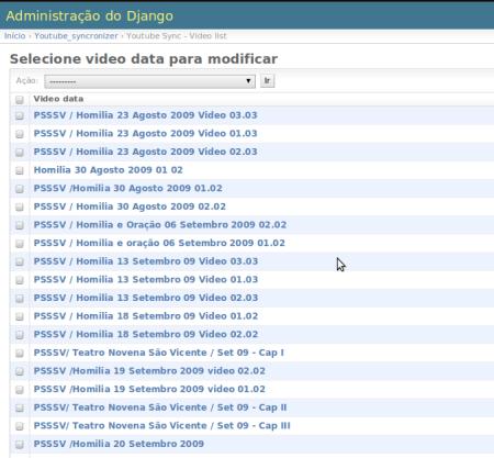 Verificando os vídeos no admin ;)
